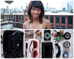 Asha Diptych (J Trav) Tags: atlanta portrait moleskine sunglasses pen keys persona diptych lock wallet tape purse bracelet whatsinyourbag metronome harmonica iphone guitarpick nikond90 theitemswecarry guitarstringwinder