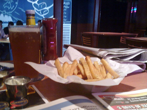 Beer and fries at Brewerkz Riverside
