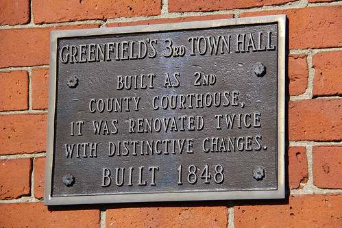 Greenfield Town Hall Historical Plaque (Greenfield, Massachusetts)