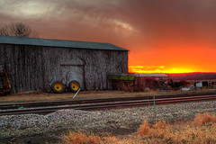 Thursday Night Sunset by the Tracks (DrMarciana) Tags: sunset barn kansas hdr railroadtracks douglascounty leicadlux4 kansas150