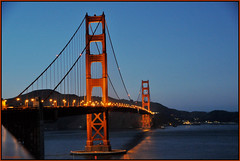 Happy 75th Anniversary! A Bridge NOT Too Far! The Golden Gate Bridge, San Francisco, California At Dusk - IMRAN  1550+ Views! (ImranAnwar) Tags: sanfrancisco california bridge blue sunset red vacation sky inspiration water architecture america outdoors lights landscapes nikon dusk bluesky historic goldengatebridge 2008 reflexions imran channel d300 imrananwar mywinners platinumphoto
