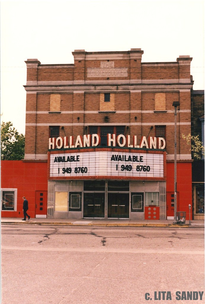 Holland, Michigan Theater (Also The Old & New Knickerbocker) Facade With Neon Sign & Marquise - 1989 (Facade & Sign Removed In 1990's))