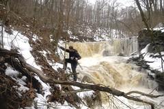 Getting the Gear into Position (Mark Birkle) Tags: county winter ohio usa snow ice creek dangerous stream photographer flood waterfalls clermont backbone tributary