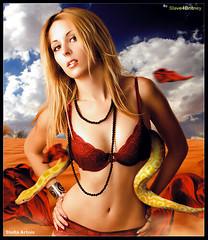Slave4Britney [Stella Artois] ( Omar Rodriguez V.) Tags: woman art beautiful fashion rock desert snake style pop omar rodriguez corel slave4britney