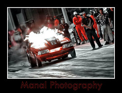 Fire On Red - mustang - drag race (Manal Photography) Tags: red car race drag fire bahrain nikond70s manal