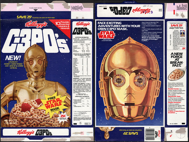 Kelloggs C-3PO's cereal box - Free Star Wars Mask - C3PO - 1984