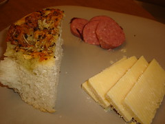 Focaccia, Sausage, and Cheese