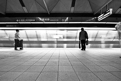 hello stranger (summerrunner) Tags: city portrait people bw reflection train lights nikon flickr dof snapshot taiwan adobe april taipei mrt 2009 生活 lightroom d80 11~16mm