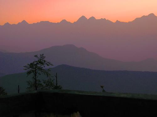 The Everest Range in pre-dawn silhouette