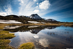 Spring (skarpi - www.skarpi.is) Tags: sky mountain lake snow wet birds reflections iceland spring melting dynamic postcard reflect fields melt vfilsfell wintertrip pstkort nohdr skarpi