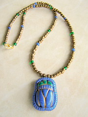 Egyptian Scarab Beetle pendant necklace (intothedawn) Tags: blue sculpture green necklace beetle egypt polymerclay egyptian pendant amulet sculpted scarab scarabbeetle premo