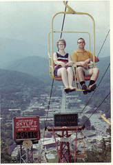 Gatlinburg skyride! (Look Homeward, Harlot) Tags: family vacation mountains clock 1969 tourism married tn tennessee awesome marriage tourists retro 1960s gatlinburg smoky overlook smokies skyride skylift hornrimmedglasses vintageride shortswithblacksocks vintageamusement crockettmountain