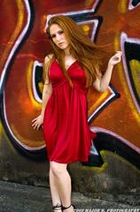 APG - Heather - Hairplay (BlazinBajan) Tags: atlanta red woman cute beautiful hair model pretty grafitti dress heather gorgeous longhair redhead redhair reddress mbp apg atlantaphotographersguild majorbphotography apg051209