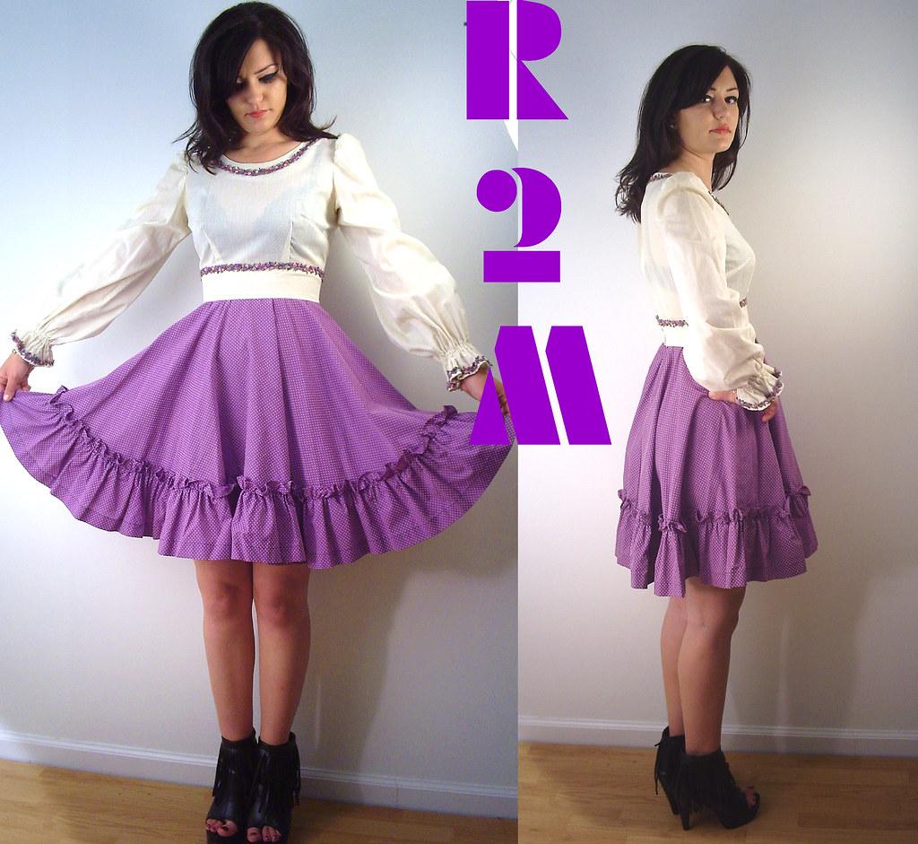 vintage 60'S PURPLE/W FLARE LACE polka mini dress s-m