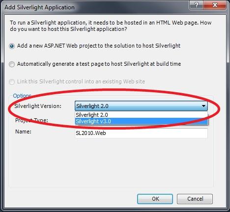 Caja de diálogo Add Silverlight Application en Visual Studio 2010