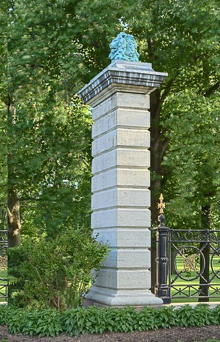Tower Grove Park, in Saint Louis, Missouri, USA - column with lion