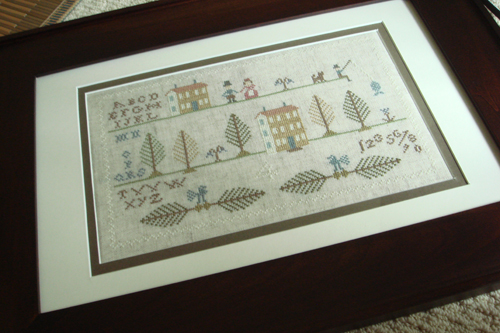 Brightneedle - Larsen's Farm. {double mat and framed}