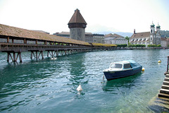 Picturesqe Lucern (cwgoodroe) Tags: sun mountain lake snow alps green church statue ferry fairytale swimming switzerland boat europe locals suisse swiss sunny location farms movieset luce swissalps lucern medivil beerpasture