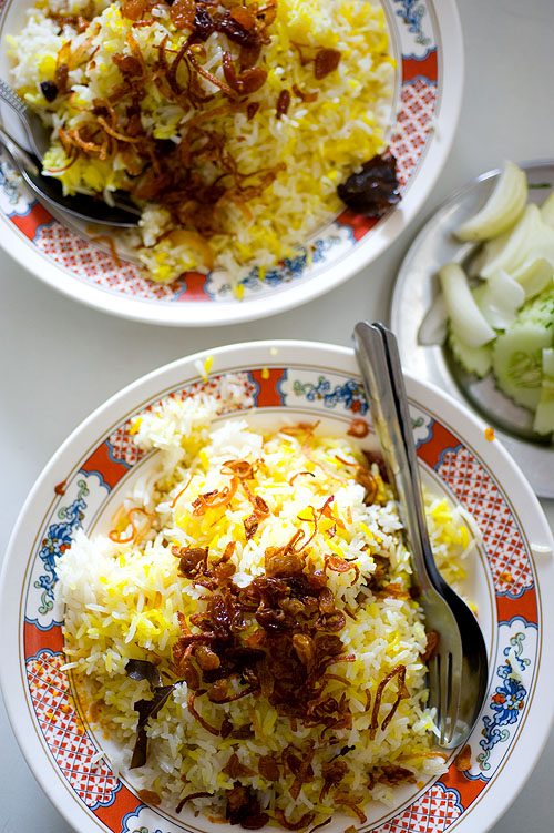 Goat biryani at Naaz, a Muslim restaurant in Bangkok