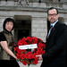 Tiananmen Square 20th anniversary, Stormont: Anna Lo MLA and Patrick Corrigan, Amnesty International on steps with wreath