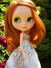 Tori (Brentments) Tags: red beautiful wearing vintage hair outdoors spring outfit amazing doll dress gorgeous redhead creation fabric stunning kenner blythe trio fabulous tori 1972 2009 floaty laurinda 50s sidepart