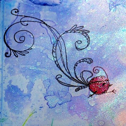 Ki-ki bird shimmers on Yupo paper