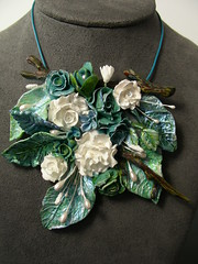 Necklace (Its All About Creating) Tags: flowers sculpture leaves necklace leaf handmade jewelry stick embellish polymerclayartist airdryclay marlenebrady