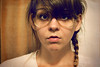 year two // day 258 (dothezonk) Tags: selfportrait silly texture nerd girl 50mm glasses frames side retro plastic gross messy year2 yeartwo ponytail durr textured nerdy braid hotday y2 365days duhface