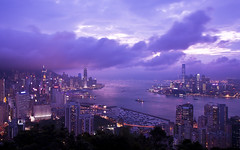 Victoria Harbour from Braemar Hill (Sarmu) Tags: china city light sunset wallpaper urban building skyline architecture night skyscraper landscape hongkong lights twilight highresolution asia downtown cityscape view skyscrapers nightshot harbour dusk widescreen 1600 highdefinition resolution 1200 cbd hd bluehour wallpapers  kowloon icc ifc  1920 vantage vantagepoint ws victoriaharbour 1080 1050 720p 1080p centralplaza urbanity   1680 720  2560  internationalfinancecentre braemarhill internationalcommercecentre sarmu