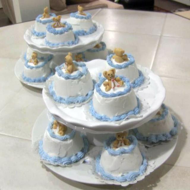 teddy bear - baby shower for baby boy - mini cakes