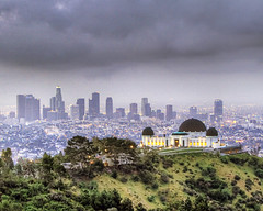 stormy morning of L.A (kennymuz) Tags: park mountain storm green up skyline architecture photography early kent los downtown cityscape view cloudy angeles hiking gray surreal windy panoramic trail observatory hillside griffith tones hdr hung 70200mm woke canoneos500d kennymuz