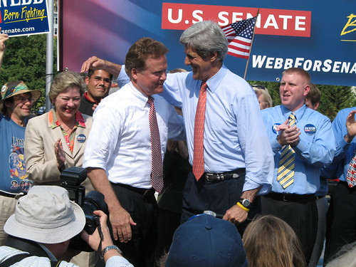 Webb and Kerry at 2006 rally