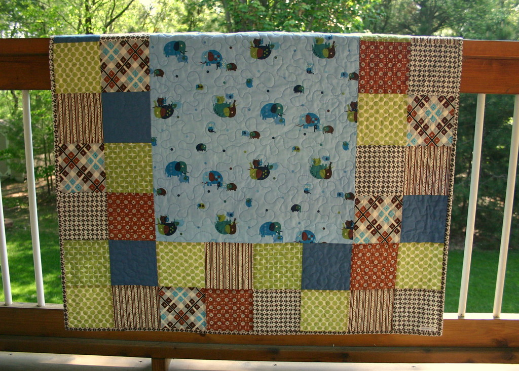 Entertaining Elephants Baby Boy Quilt