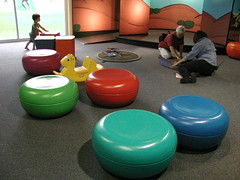Coloured seats and shapes at Questacon (spelio) Tags: 2005 kids bench play favorites favourites canberra feb favs act questacon