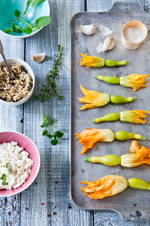Wild Rice & Feta Stuffed Squash Blossoms
