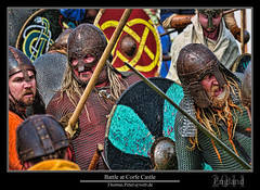 Battle at Corfe Castle (thpeter) Tags: uk greatbritain england history europe unitedkingdom battle medieval dorset vikings nationaltrust middleages gmt corfecastle gbr dst jurassiccoast 2011 saxons reenactement thomaspeter thpeter vikingreenactmentsocietycaentherrad