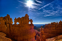 Bryce Canyon National Park, Utah (Paul in Leeds) Tags: park blue light red sky orange usa sun hot clouds america utah us rocks day sam know uncle united canyon doodle dont national what bryce states else geology dust yankee wispy dandy put