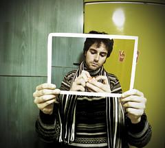 PIP (Illusiontom) Tags: portrait selfportrait me self magazine square tommaso io explore fantasy autoritratto nikkor clone credenza sciarpa frigo fotomontaggio 1870 mandarino frigorifero multipleme illusiontom