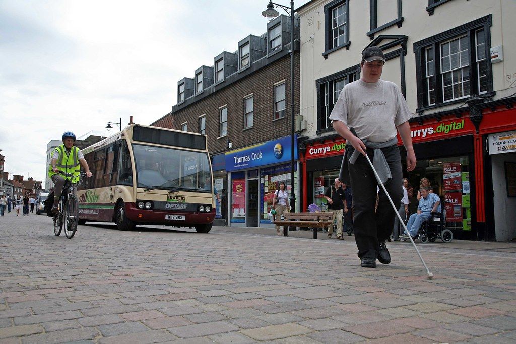 Newbury Shared Streets - blind person with long white cane