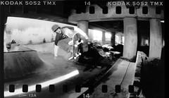Josh Ollie 2 Fakie BrdRtwn (candersonclick) Tags: bridge bw white black film lens dead diy is skateboarding bordertown fisheye ollie josh skatepark medium format skateboarder matlock 135mm sloppy sprocket arsat arax 30mm fakie