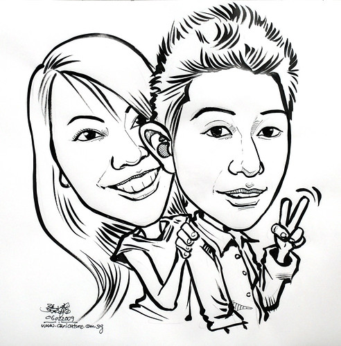 Couple caricatures in ink 060209