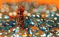 Lost in Bokeh Forest?  ... ← That way  !! (Skizha) Tags: blue macro canon key bokeh indian totem pole chain explore explored macrolove bokehlicious hbweve ehbd hbwe happybokehwednesdayeve