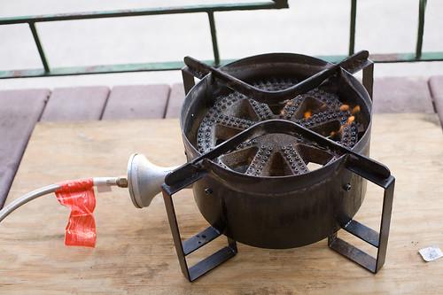 the propane burner burning