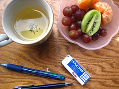 study break (elisasizzle) Tags: home tangerine kiwi studybreak pinkbowl teaandfruit studyingformidterms