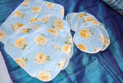 wipes and breastpads made from scraps