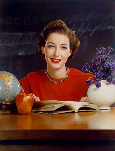 Timken Roller Bearing Co., calendar, September 1950, teacher at desk by George Eastman House.