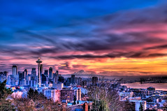 Blazing Seattle Sunset - Wide (Surrealize) Tags: ocean seattle city pink blue sunset orange water skyline clouds buildings bay nikon colorful industrial cityscape crane spaceneedle pugetsound kerrypark elliottbay washingtonstate shipping mtrainier lenticular brilliant hdr d300