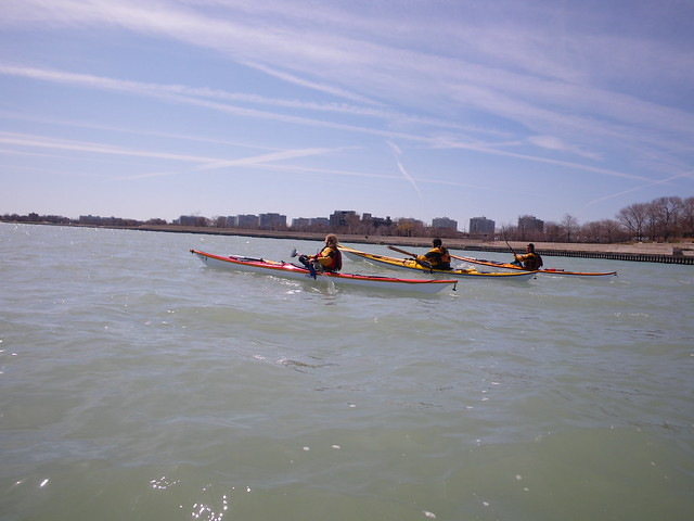 Sea Kayakers on Lake Michigan in Chicago by Go Kayak Now