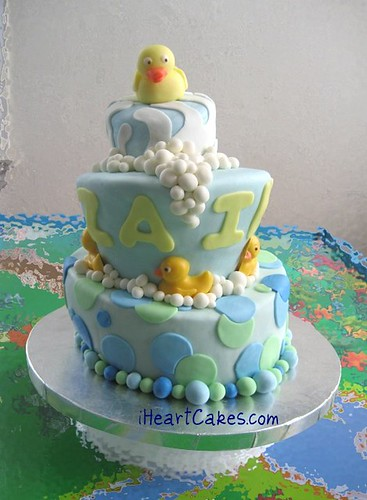 Rubber Ducky Topsy Turvy Baby Shower Cake - iHeartCakes