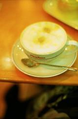 (yocca) Tags: film me myself table 50mm spring cafe nikon f14 f3 nikkor latte 2009 viedefrance centuria400 me2009 mar2009